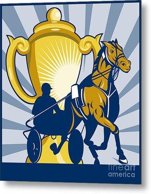 Harness Cart Horse Racing Metal Print by Aloysius Patrimonio