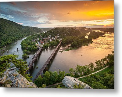 Harpers Ferry National Historical Park Maryland Heights Sunset Metal Print by Mark VanDyke