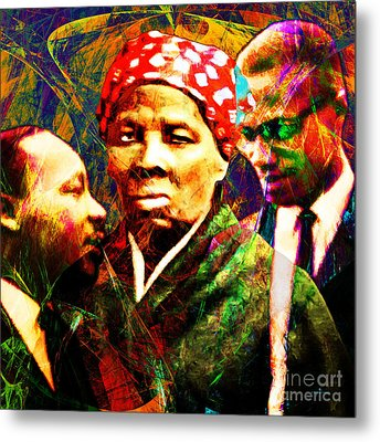 Harriet Tubman Martin Luther King Jr Malcolm X 20160421 Square Metal Print by Wingsdomain Art and Photography