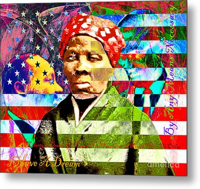 Harriet Tubman Martin Luther King Jr Malcolm X American Flag With Text Metal Print by Wingsdomain Art and Photography