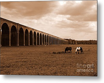Harringworth Viaduct And Horses Grazing Metal Print by Louise Heusinkveld