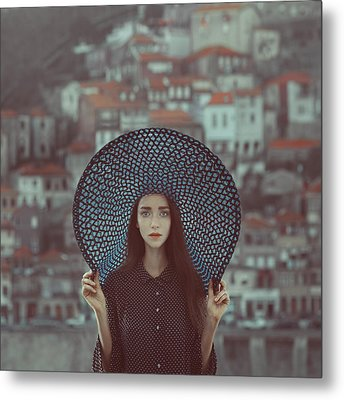 Hat And Houses Metal Print by Anka Zhuravleva