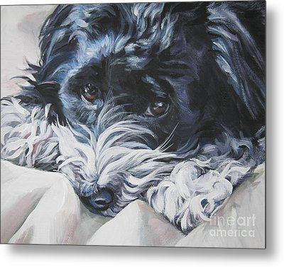 Havanese Black And White Metal Print by Lee Ann Shepard