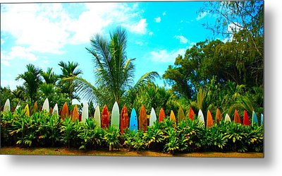 Hawaii Surfboard Fence Photograph  Metal Print by Michael Ledray