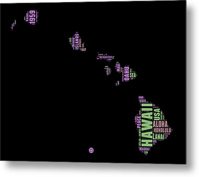 Hawaii Word Cloud 1 Metal Print by Naxart Studio