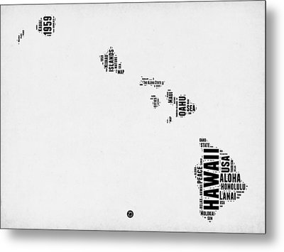 Hawaii Word Cloud 2 Metal Print by Naxart Studio