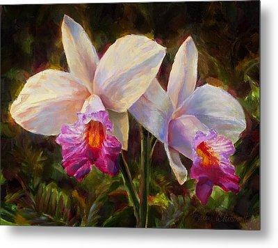 Hawaiian Bamboo Orchid Metal Print by Karen Whitworth
