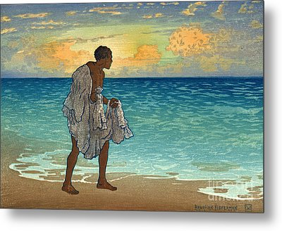 Hawaiian Fisherman 1920 Metal Print by Padre Art