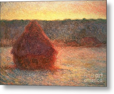 Haystacks At Sunset Metal Print by Claude Monet