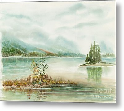 Hazy On The Lake Metal Print by Samuel Showman