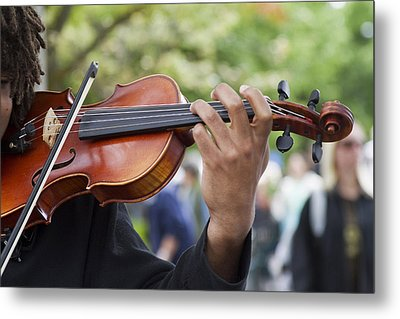 He Plays At The Market Metal Print by Rebecca Cozart
