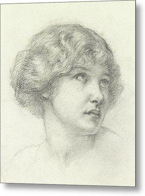Head Of A Girl  Metal Print by Walter John Knewstub