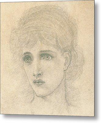 Head Of A Woman Metal Print by John Melhuish Strudwick