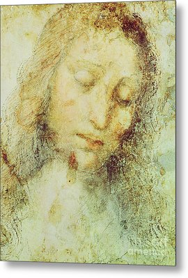 Head Of Christ Metal Print by Leonardo Da Vinci