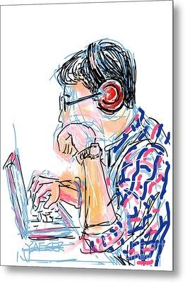 Headphones And Laptop Metal Print by Robert Yaeger