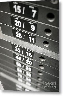 Healthclub Equipment Weight Plate Stack Metal Print by Paul Velgos