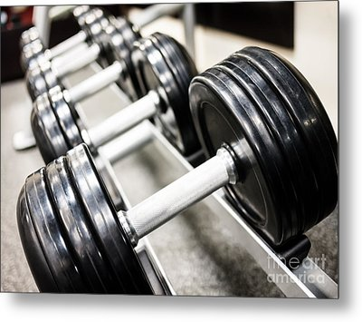 Healthclub Free Weights On A Rack Metal Print by Paul Velgos