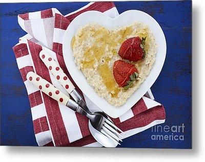 Healthy Breakfast Oats On Heart Shape Plate Metal Print by Milleflore Images