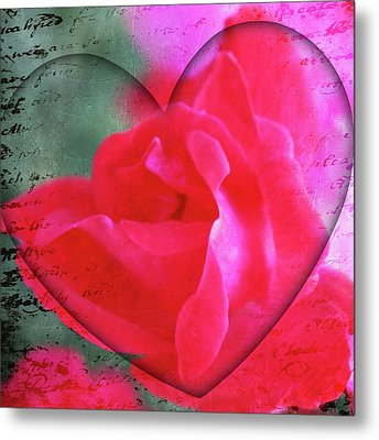 Heart And Rose Metal Print by Cathie Tyler
