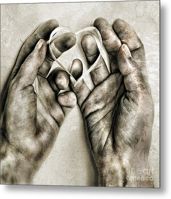 Heart In Hands Metal Print by HD Connelly