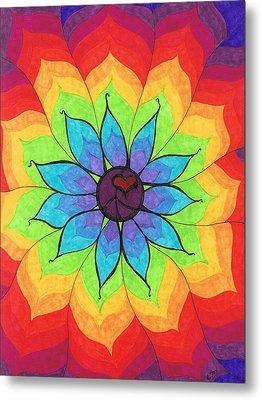 Heart Peace Mandala Metal Print by Cheryl Fox