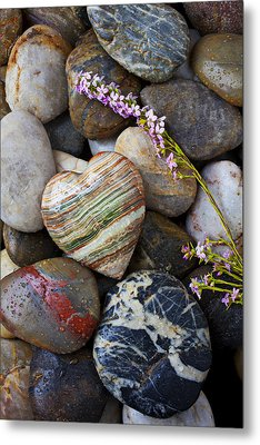 Heart Stone With Wild Flower Metal Print by Garry Gay
