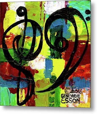 Heart Treble Bass Clef 3 Metal Print by Genevieve Esson