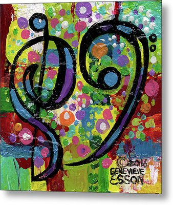 Heart Treble Bass With Polkadots 2 Metal Print by Genevieve Esson