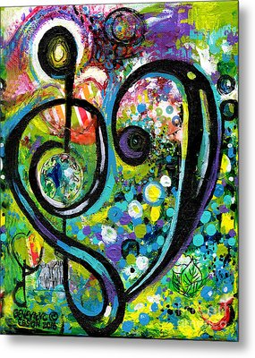 Heart Treble Clef With Polka Dots Metal Print by Genevieve Esson