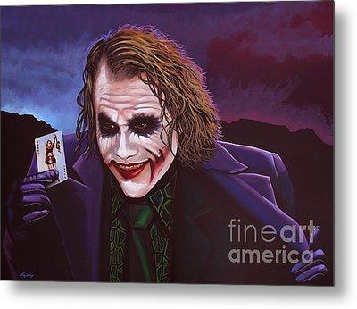 Heath Ledger As The Joker Painting Metal Print by Paul Meijering