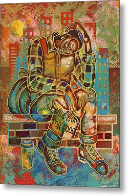 Heavy Burdens  Metal Print by Larry Poncho Brown