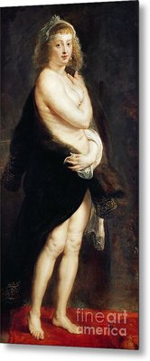 Helena Fourment In A Fur Wrap Metal Print by Rubens