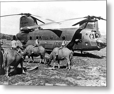 Helicopters And Water Buffalos Metal Print by Underwood Archives