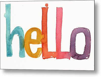 Hello Lettering Metal Print by Gillham Studios