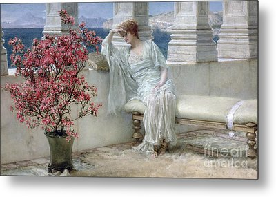 Her Eyes Are With Her Thoughts And They Are Far Away Metal Print by Sir Lawrence Alma-Tadema