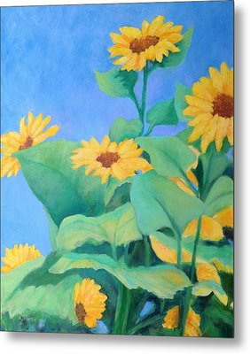 Her Sunflower Garden Original Oil Painting Of Sunflowers Metal Print by K Joann Russell
