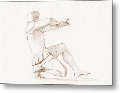 Heracles The Archer Of Aegina Sepia Metal Print by Stevie the floating artist