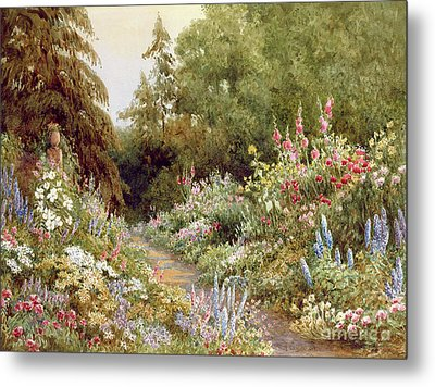 Herbaceous Border  Metal Print by Evelyn L Engleheart