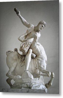 Hercules And Centaur Sculpture Metal Print by Artecco Fine Art Photography
