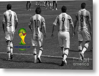 Here We Come Lionel Messi Fifa 2014 Black And White Metal Print by Lee Dos Santos