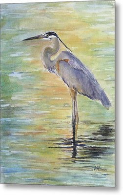 Heron At The Lagoon Metal Print by Patricia Pushaw