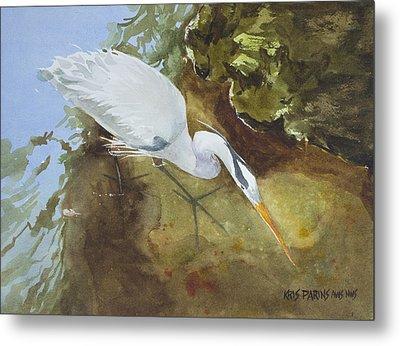 Heron Under The Bridge Metal Print by Kris Parins