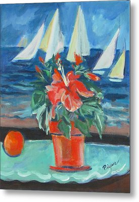 Hibiscus With An Orange And Sails For Breakfast Metal Print by Betty Pieper
