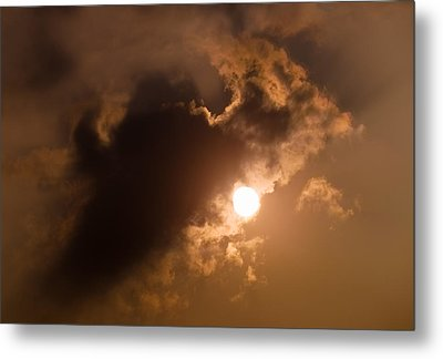 Hiding Behind The Clouds Metal Print by Wim Lanclus