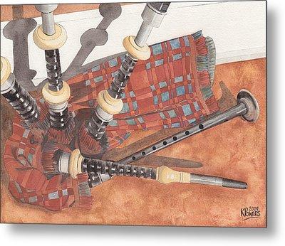 Highland Pipes II Metal Print by Ken Powers