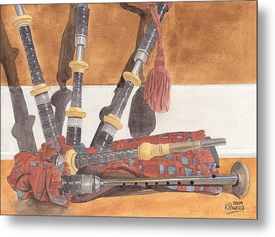 Highland Pipes Metal Print by Ken Powers