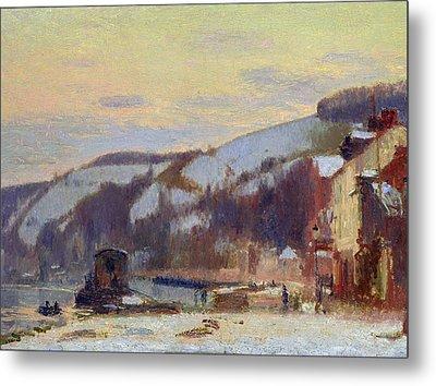 Hillside At Croisset Under Snow Metal Print by Joseph Delattre