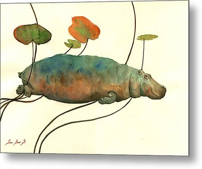 Hippo Swimming With Water Lilies Metal Print by Juan  Bosco