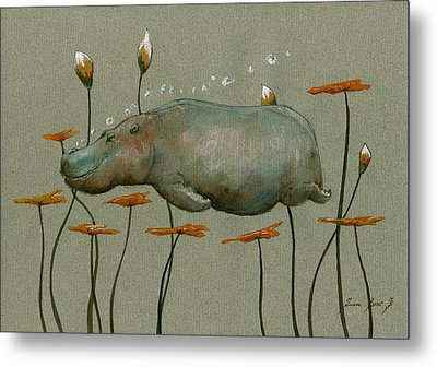Hippo Underwater Metal Print by Juan  Bosco