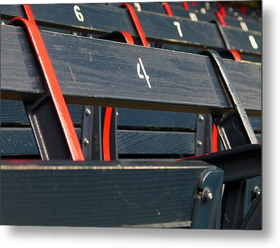 Historical Wood Seating At Boston Fenway Park Metal Print by Juergen Roth